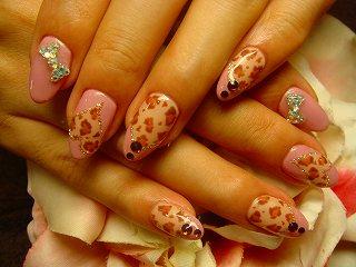 ジェルネイル 豹柄 ピンク ハート フレンチ リボン