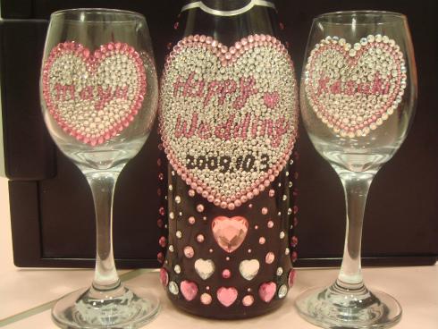 デコ ワイン グラス ウェディング